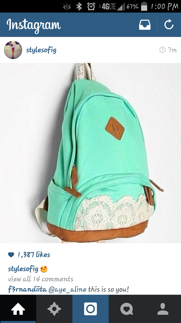 bag turquoise lace backpack urban outfitters