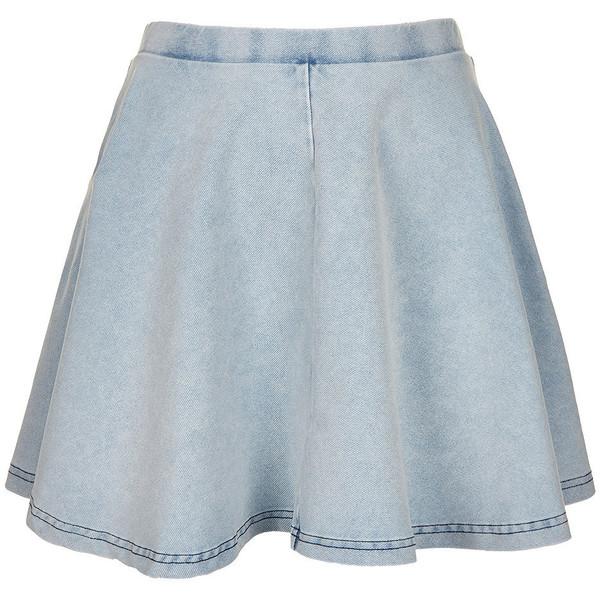 TOPSHOP Petite Denim Look Skater Skirt - Polyvore