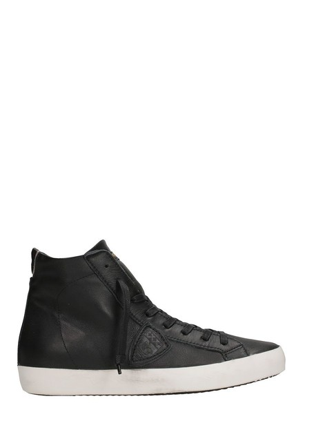 Philippe Model paris high sneakers leather black black leather shoes