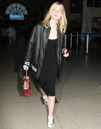 shoes gucci ace sneakers sneakers white sneakers embroidered low top sneakers black dress dress midi dress elle fanning celebrity style celebrity bodycon dress baseball jacket jacket black jacket bag gucci bag dionysus printed bag floral bag