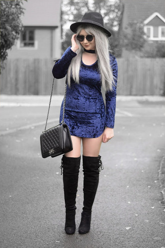 sammi jackson blogger sunglasses dress bag shoes boots over the knee boots mini dress chanel bag velvet dress crushed velvet