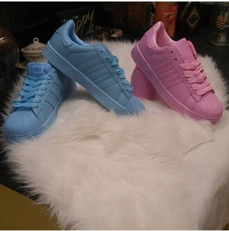 shoes pink blue adidas adidas superstars classic