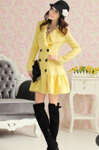coat cute adorable jacket yellow yellow trench coat