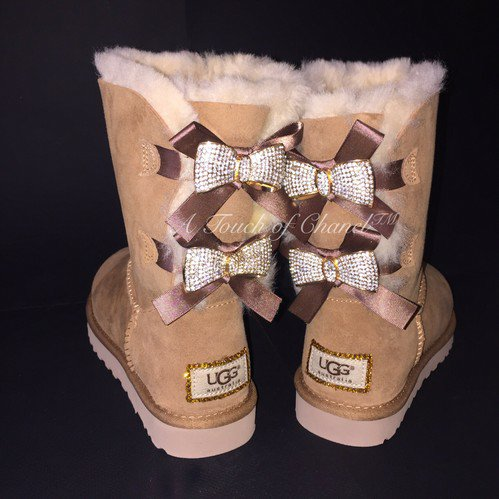 Short chestnut crystallized bailey bow ugg boot by atouchofchanel