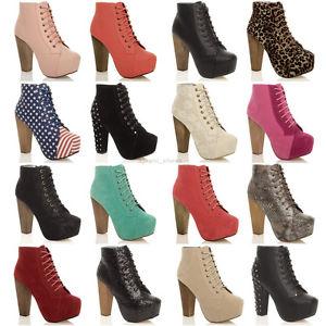 Ladies Lace Up Platform Wooden Block High Heel Booties Ankle Boots ...