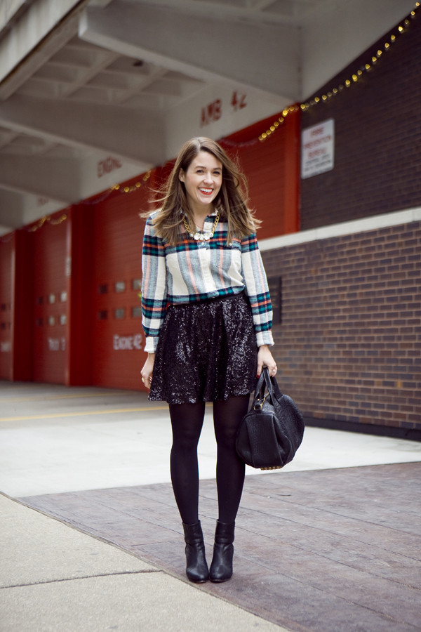 sequins and stripes shirt skirt shoes bag jewels