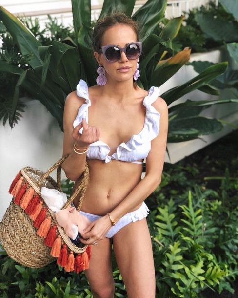 swimwear ruffled bikini white bikini earrings sunglasses bag bikini bikini top bikini bottoms