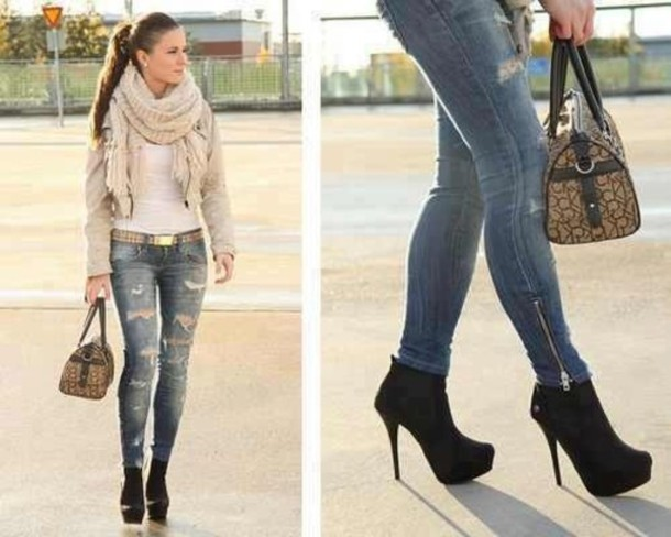 Jeans Ripped Jeans Scarf White Tan Black Heels