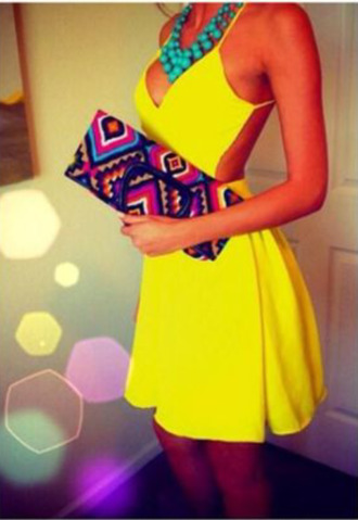 dress yellow dress mini dress prom dress prom