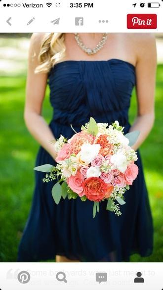 dress bill levkof bridesmaid navy blue