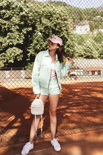 hat tumblr pink baseball hat baseball cap backpack mini backpack sneakers white sneakers jacket mint shorts sunglasses top