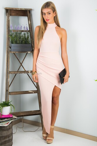 dress dolly girl fashion peach peach dress pink pink dress long dress maxi dress formal formal dress prom homecoming