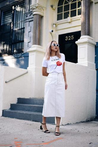 skirt tumblr midi skirt white skirt t-shirt white t-shirt sandals black sandals mid heel sandals sunglasses shoes