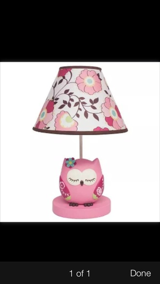 home accessory lamp owl girly pink