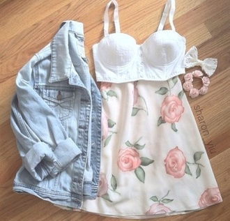 jacket spring summer date outfit cute floral denim skirt pink denim jacket shirt tank top jewels flowers bra top white