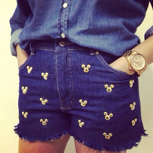 shorts blue blue shorts denim shorts disney mickey mickey mouse minnie minnie mouse mouse denim studs gold high waisted denim shorts