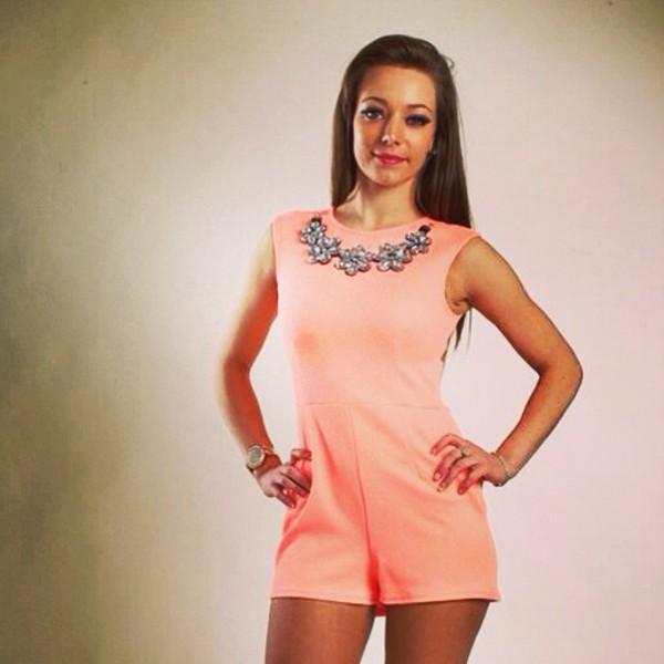 jumpsuit romper silver gorgeous peach dress peach playsuit fashion summer dress outfit