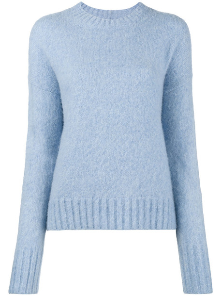 Helmut Lang jumper oversized women blue wool sweater