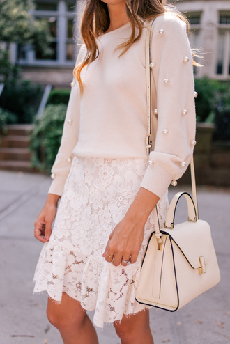 sweater nude sweater tumblr embellished skirt mini skirt white skirt lace skirt bag white bag