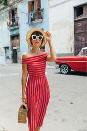sunglasses,hat,tumblr,white sunglasses,sun hat,dress,off the shoulder,off the shoulder dress,midi dress,red dress,stripes,striped dress,bag