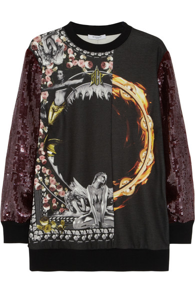 Givenchy | Printed sweatshirt with sequin sleeves | NET-A-PORTER.COM