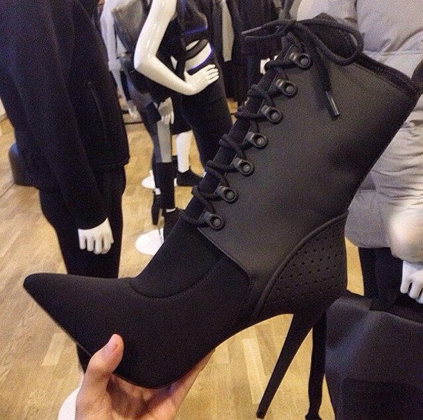 black boots high heels heels black heels boots shoes black dress cute high heels black high heels fashion style little black boots lace up ankle boots trendy all black everything chic black