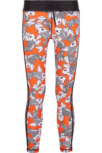 leggings cropped sea orange bright pants