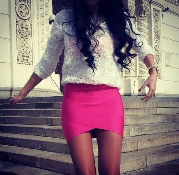 cute skirt short skirt hot pink