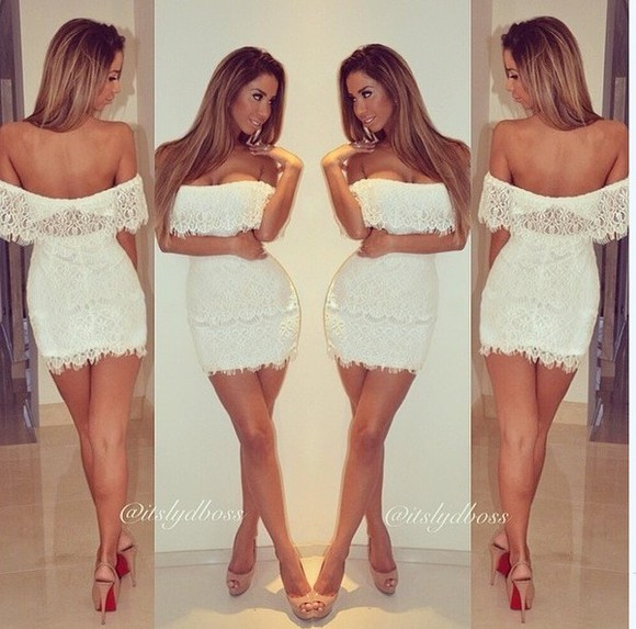 dress formal short white lace