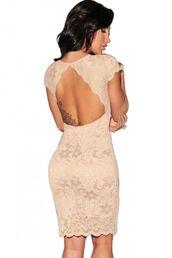 dress,beige dressb,beige bodycon,lace dress,lace overlay,cut out back dress,www.ustrendy.com