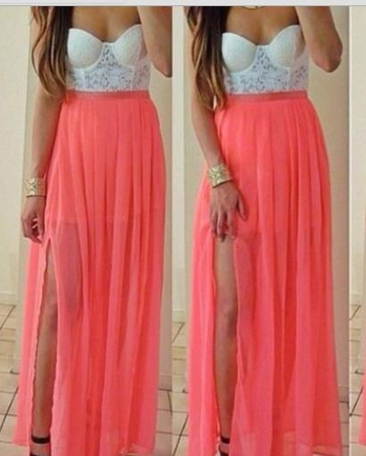 Fashion hot pink lace dress