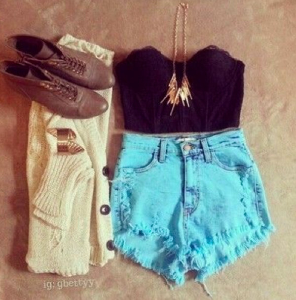 shorts clothes fashion real these girl summer tumblr weheartit high waisted croptank sweater bracelets necklace shoes boots outfit black bustier bustier crop top corset top top shop