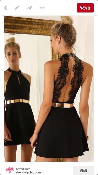dress black lace back skater skirt