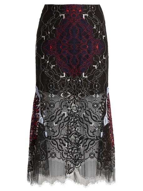 skirt midi skirt embroidered midi lace navy
