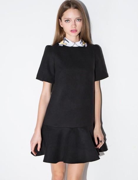 132 Bird Collar Black Peplum Dress Black Dress Sold On Pixiemarket