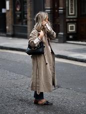 coat,camel coat,tumblr,trench coat,shoes,mules,black shoes,bag,black bag,fall outfits,jeans