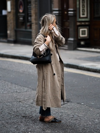 coat camel coat tumblr trench coat shoes mules black shoes bag black bag fall outfits jeans