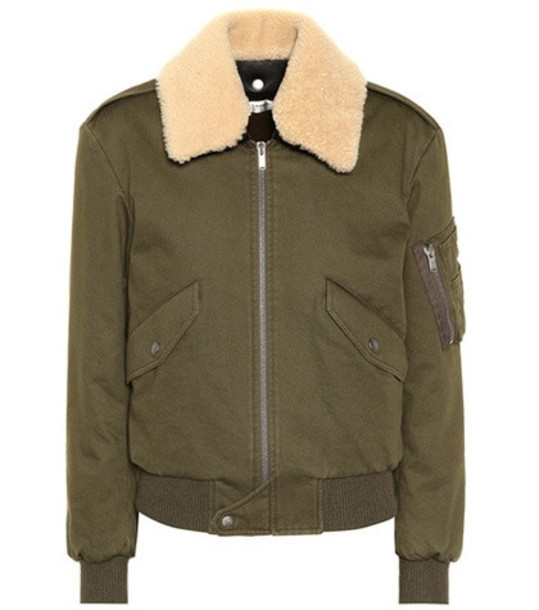 Saint Laurent Shearling-trimmed bomber jacket in green