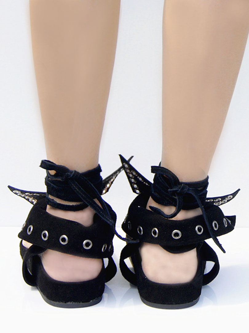 Embellished Bow Toe Post Flat Sandals with Tie Up Ankle - Choies.com