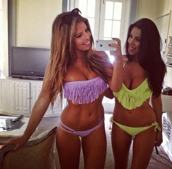 swimwear fringe bikini tanned girls sunnies black sunglasses purple bikini yellow bikini long hair gorgeous fit healthy living strappy bikini beauty and health