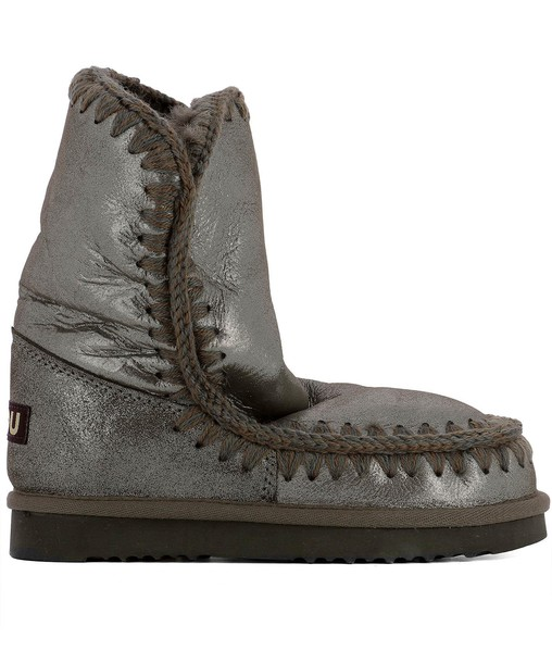 Mou leather ankle boots ankle boots silver leather shoes