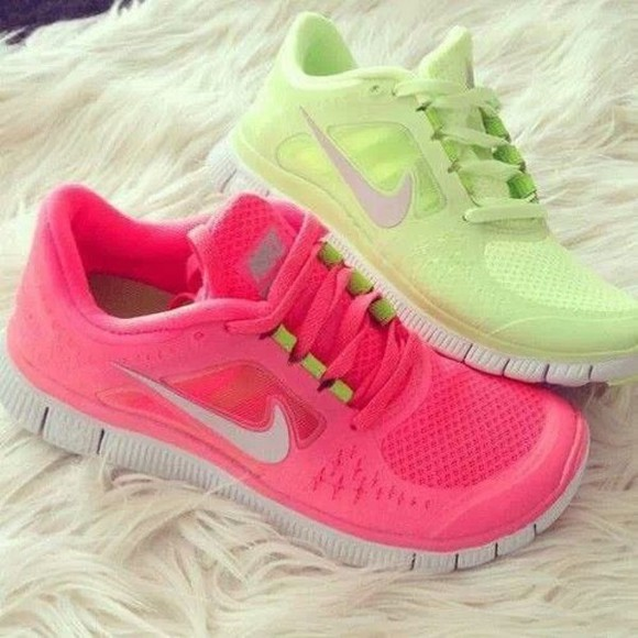 nike sport shoes pink fitness fashion run hot pink nike free run free
