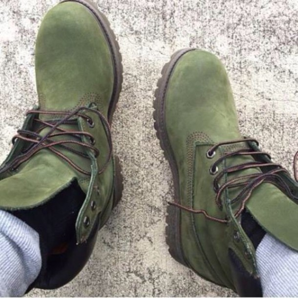 Shoes Army Green Olive Green Timberland Boots Suede Wheretoget