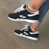 shoes,shaded,black shoes,Reebok,white shoes,jewels,chain,jewelry,brand,nike,dope,hurraches,style,fashion,nike running shoes,jordans,black,white,black and white,bw,nike sneakers,sneakers,high top sneakers,reebok iridescent,reebok fury,reebok fury pump,rebock,anklet,ankle bracelet,gold,golden anklet,tumblr,swag,bracelets