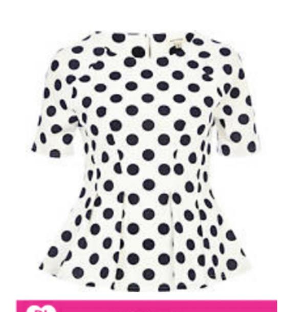Shirt polka dots polka dot shirt peplum polka dot for White red polka dot shirt