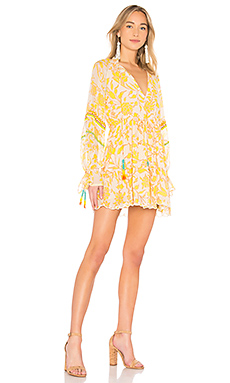 HEMANT AND NANDITA Clarion Mini Dress in Blue & Yellow from Revolve.com