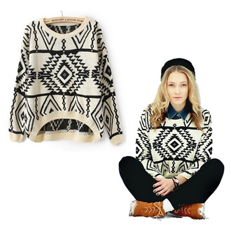 sweater geometric aztec tribal pattern pattern black and white pullover