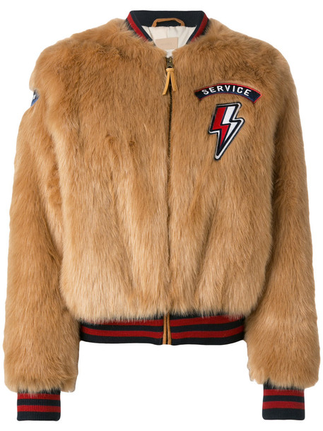 Mother jacket bomber jacket fur faux fur women brown