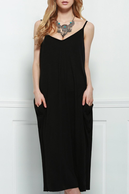 Zaful Spaghetti Strap Loose-Fitting Maxi Dress in black