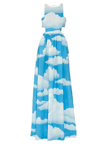 MARA HOFFMAN Cloud-print linen racer-back maxi dress in blue / multi